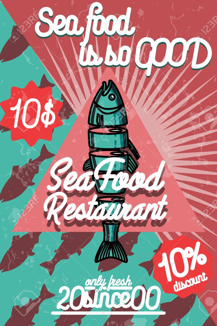 Color Vintage Seafood Restaurant Poster Royalty Free Cliparts Vectors And Stock Illustration Image 63104759