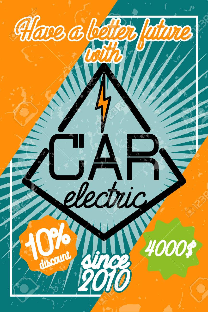 Infographic Poster About Electric Cars Modern Vector Illustration