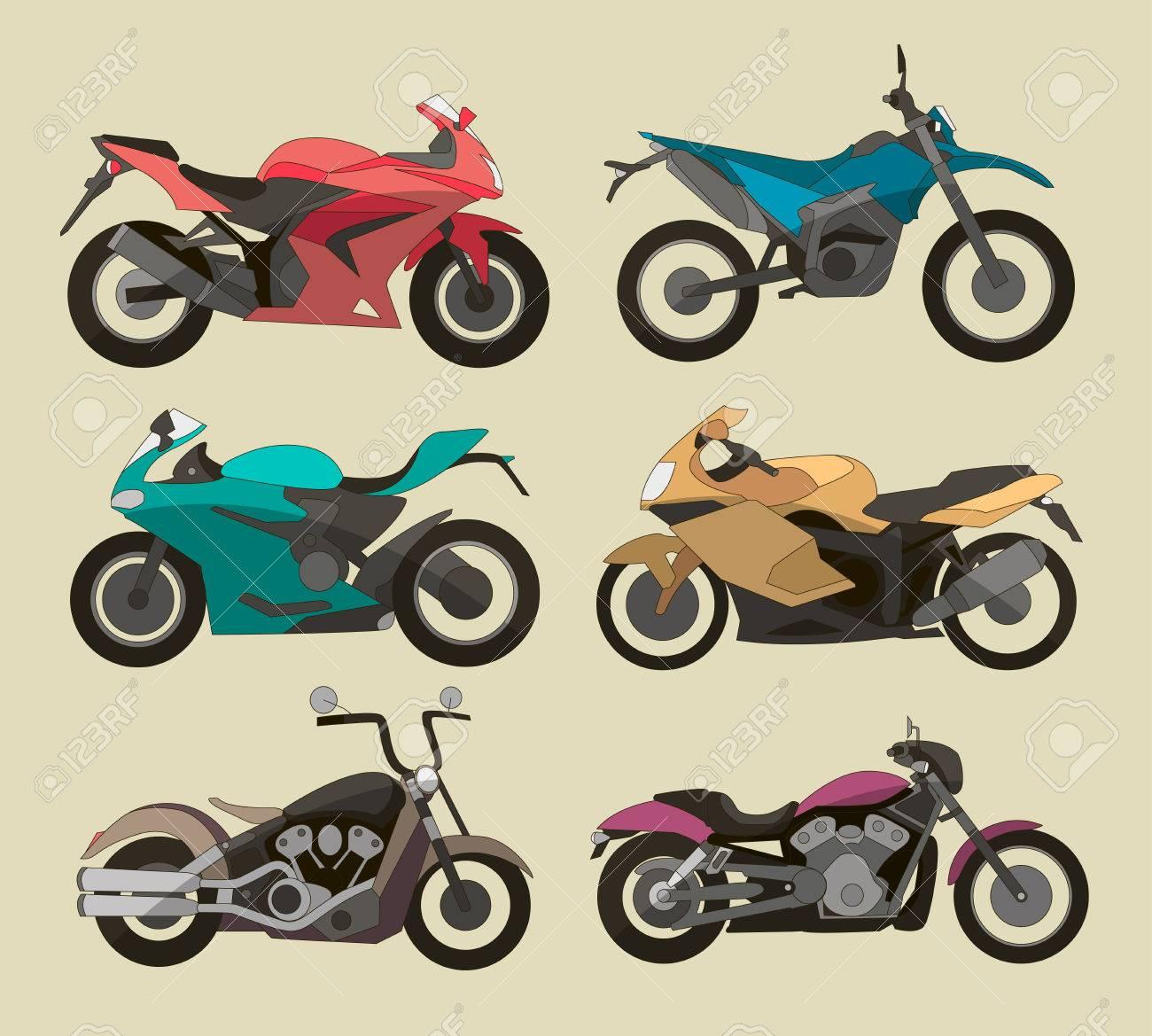 Motorcycle Icons Set In Flat Style Vector Illustrations Of Different Type Motorcycles Stock