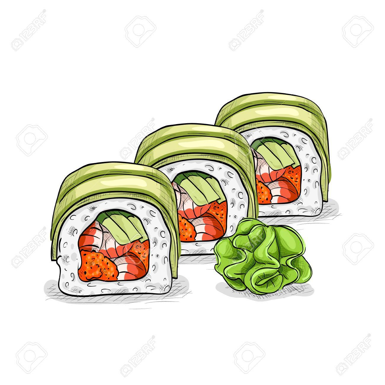Vector Sushi-Farbskizze, Drachen Rolle. Japanische Küche ...