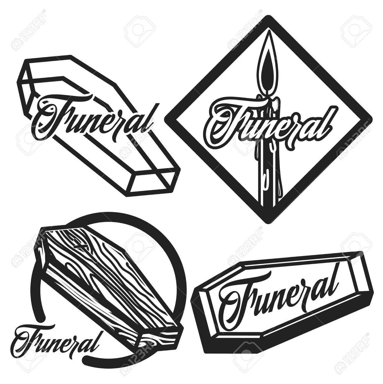 Vector Conjunto De Logotipos De Servicios Funerarios. Insignias ...
