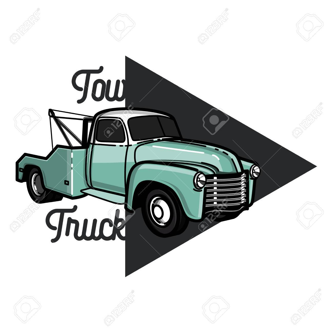 vintage car tow truck emblem label and design elements royalty free rh 123rf com tow truck vector free download tow truck vector clipart