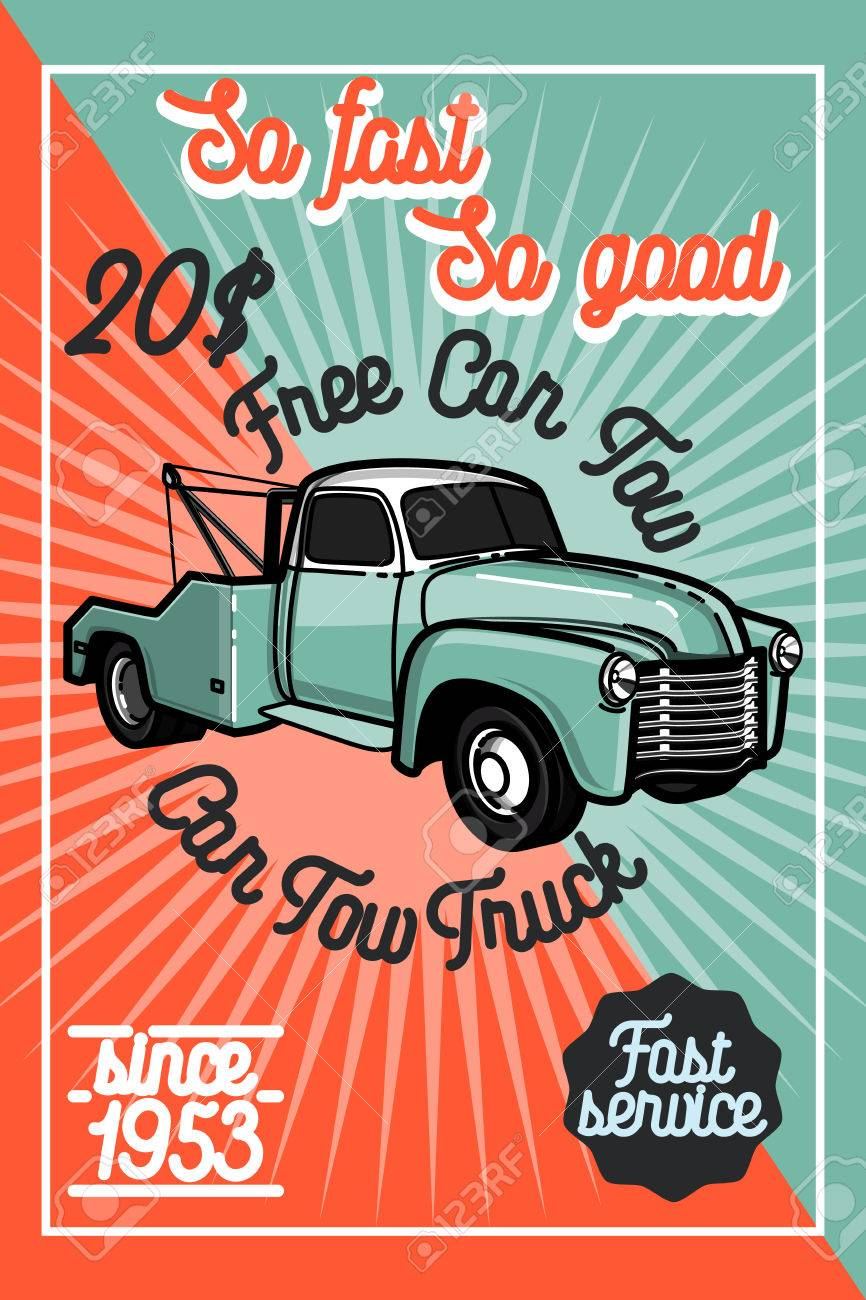 Color Vintage Car Tow Truck Poster And Design Elements Royalty Free ...