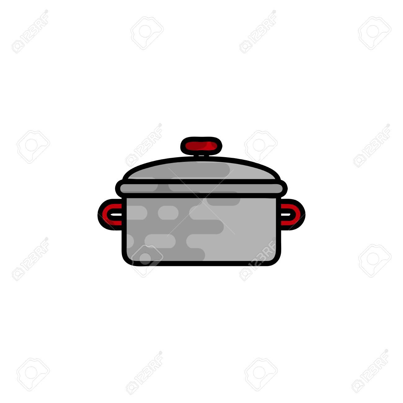 Kuchengerat Und Kochgeschirr Flach Symbol Kochwerkzeug Und