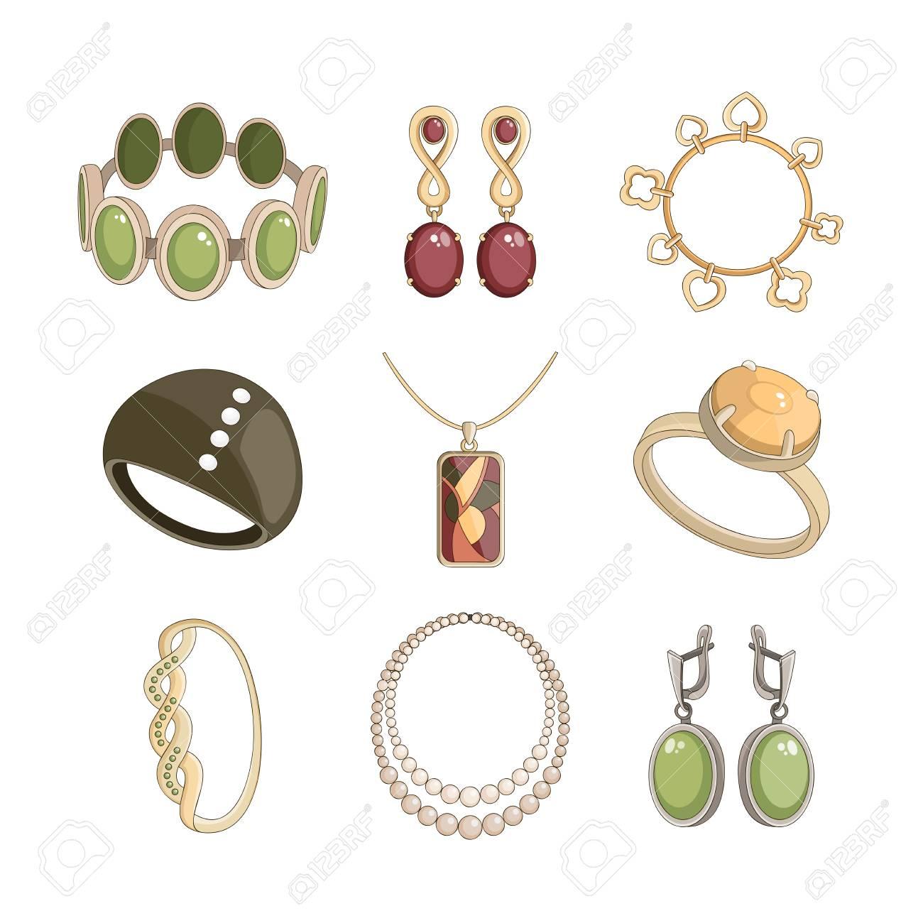 88063182044f Conjunto de la joyería realista con pendientes pulsera y anillos de  ilustración vectorial aislado Foto de