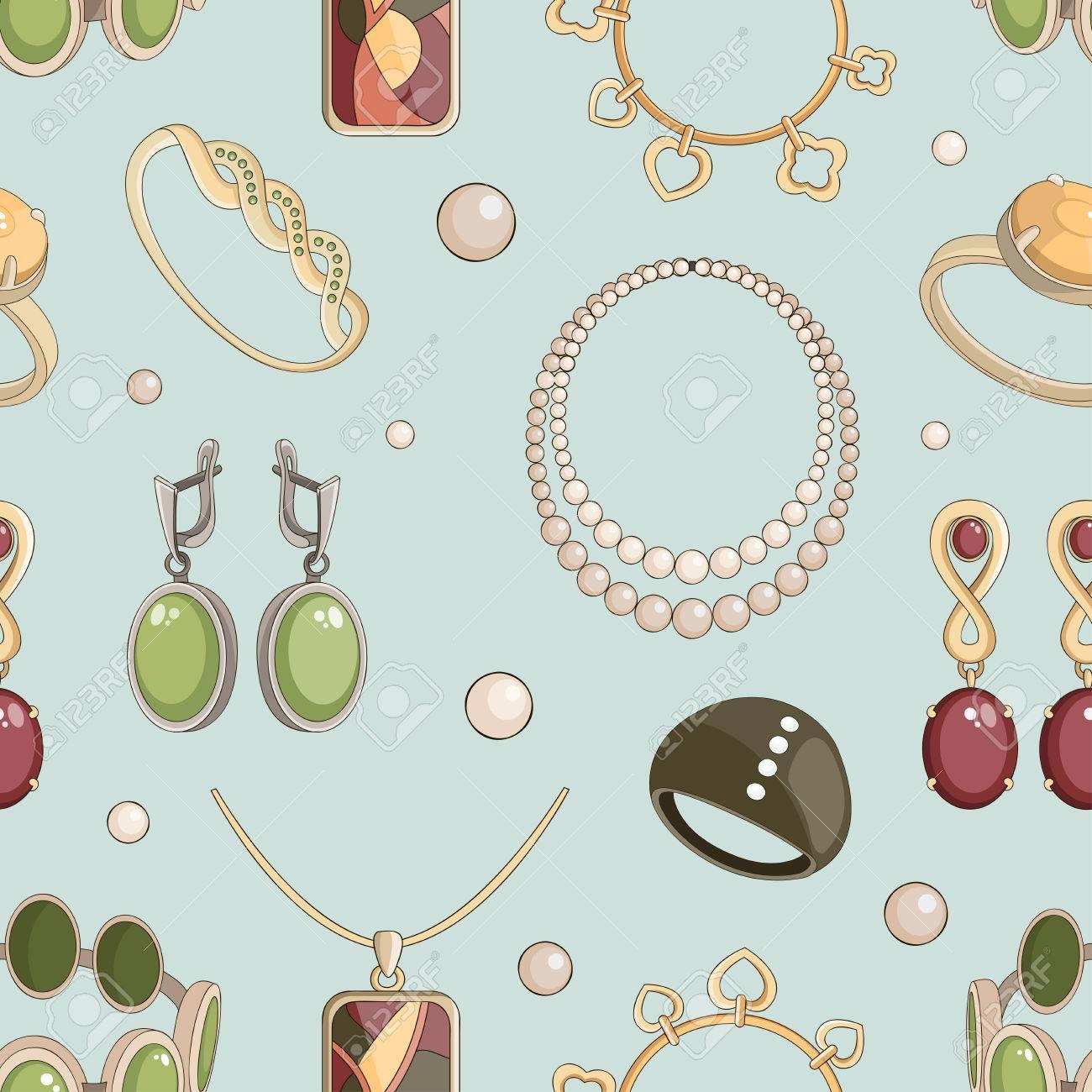 9b638cc7adc6 Conjunto de joyas realista conjunto con pendientes pulsera y anillos  aislados ilustración vectorial Foto de archivo
