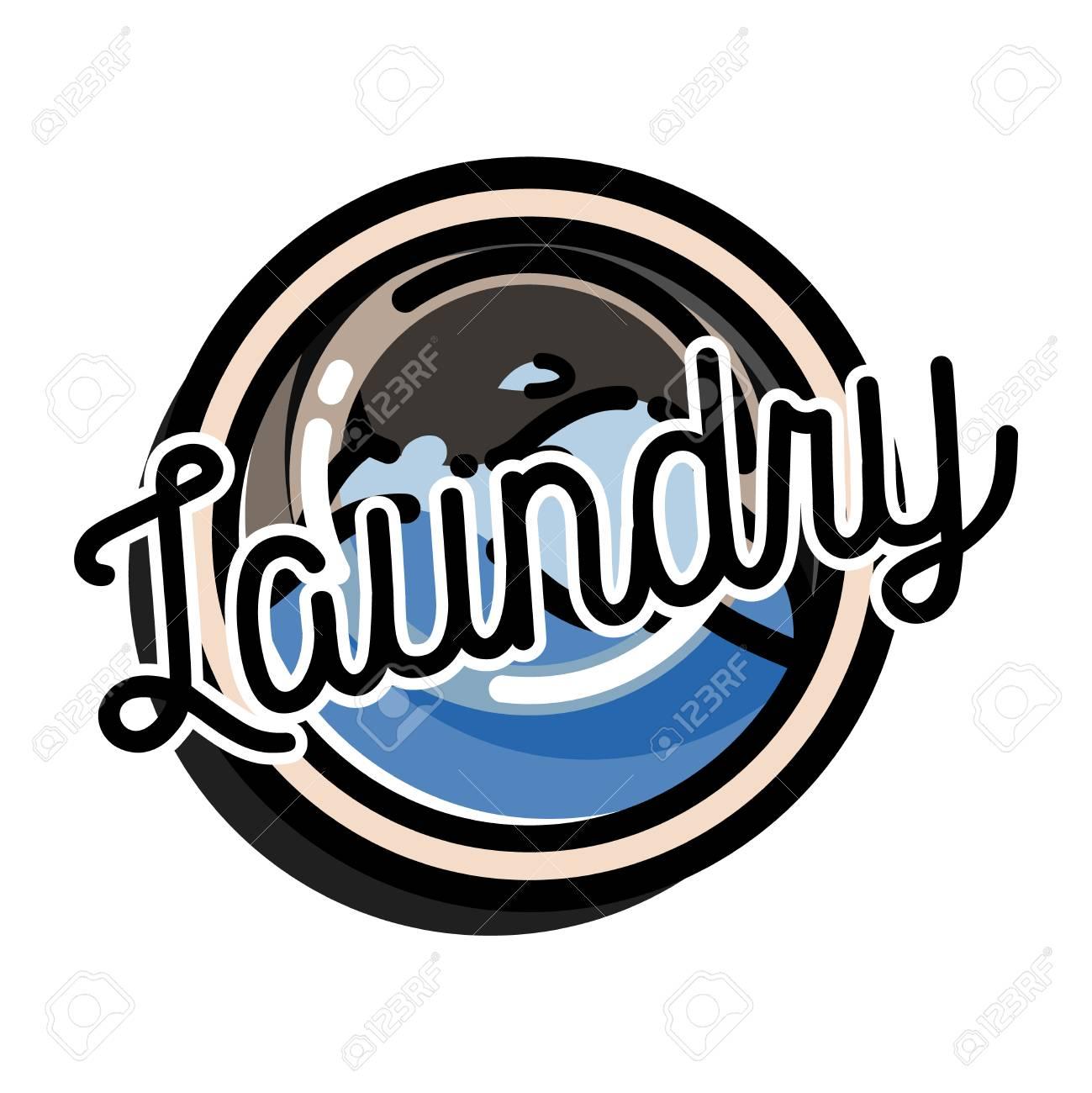 Color Vintage Laundry Emblem For Your Design Vector Illustration Stock