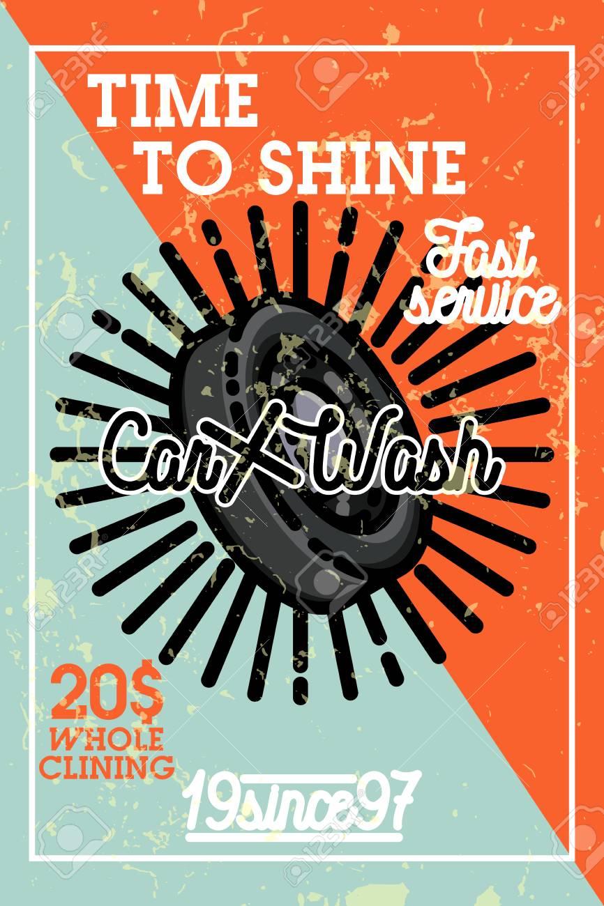 36fedad20605 Color vintage car wash banner Stock Photo - 74114282