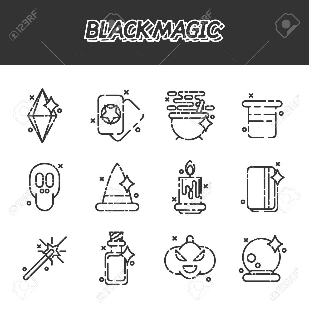 Black Magic Cartoon Concept Icons Trendy Simple Vector Symbol
