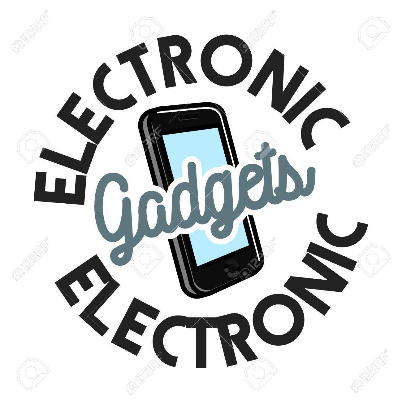 Color Vintage Electronic Gadgets Emblem Royalty Free Cliparts