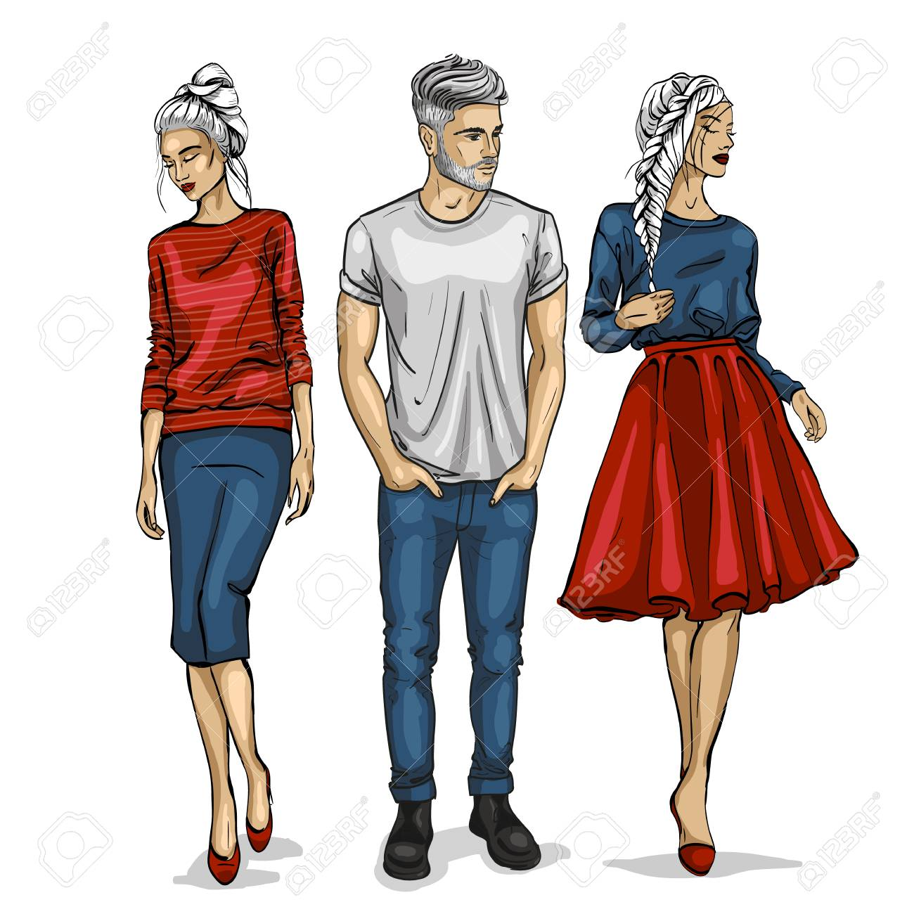 Male and female fashion models icon. - 91755064