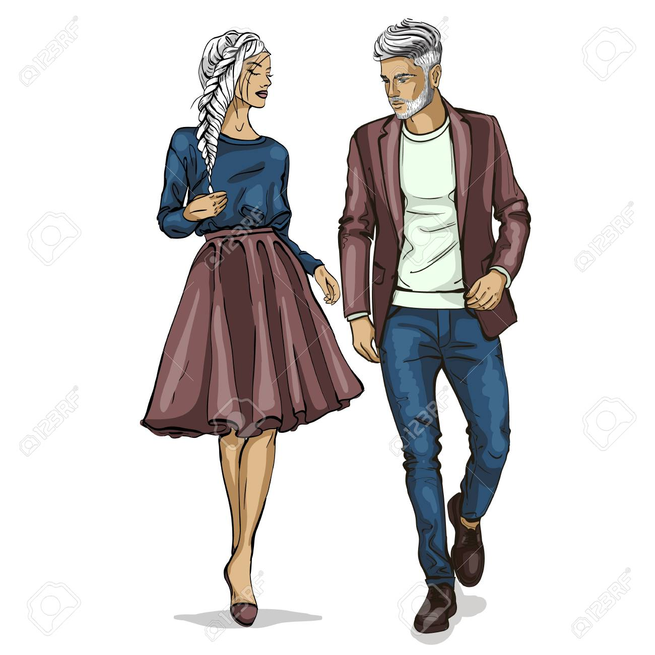 Man and a woman fashion models icon. - 91755159