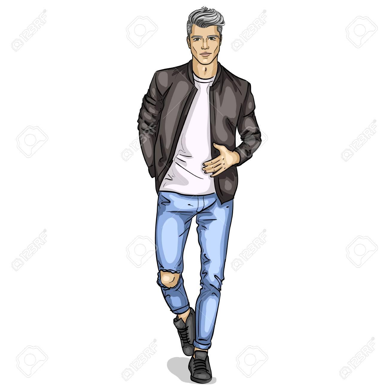 Mannequin Homme Habillé En Jeans T Shirt Blouson Et Baskets Clip