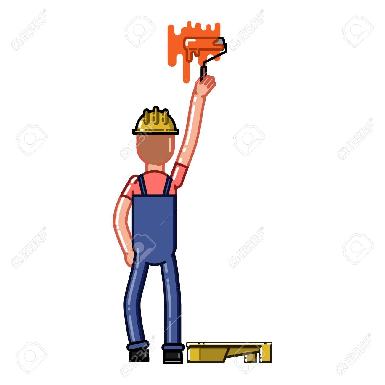 Builder Peindre Un Mur Avec Un Rouleau Illustration De Dessin Animé De Croquis De Vecteur