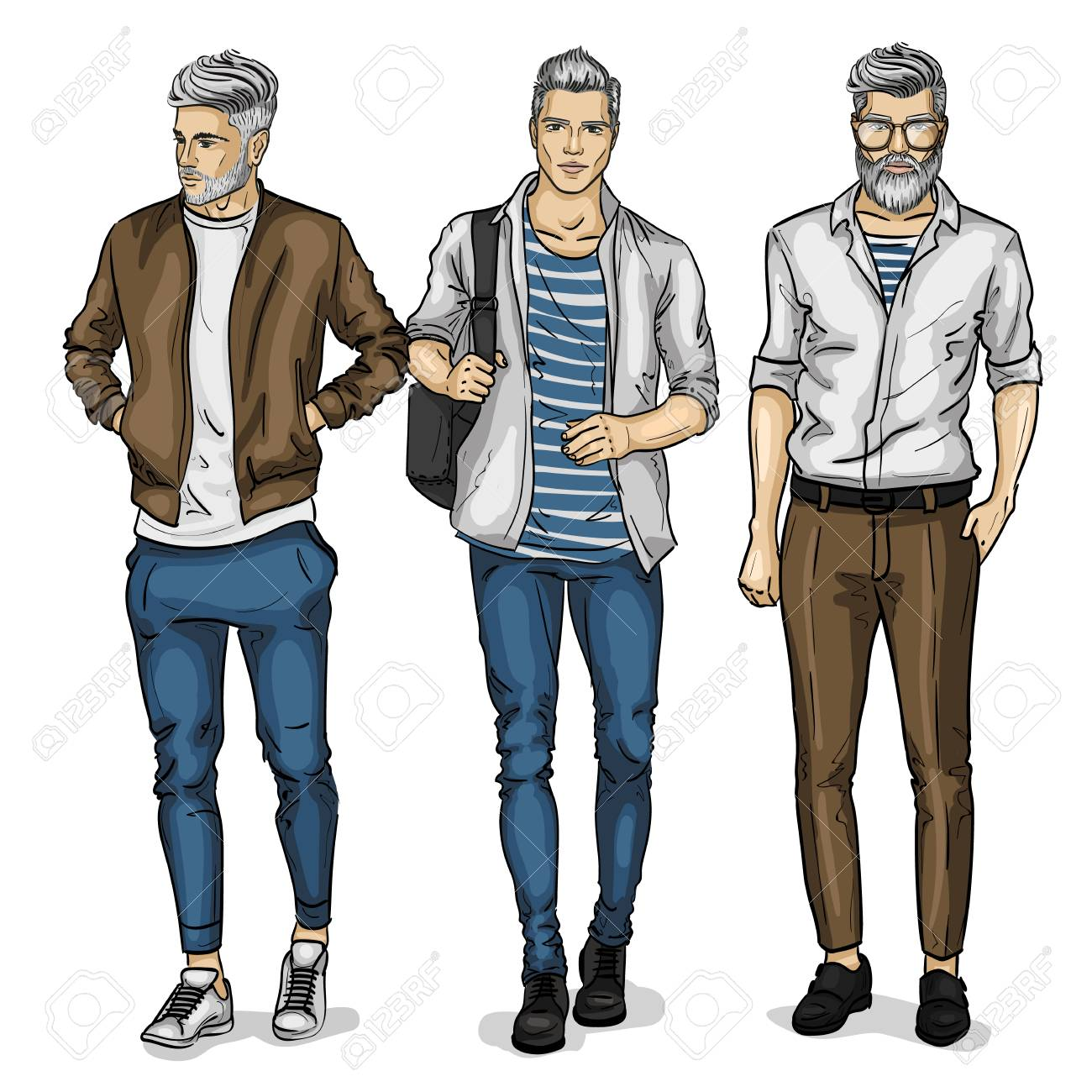 Vector man models dressed in casual style, sketch, spring collection - 93337809