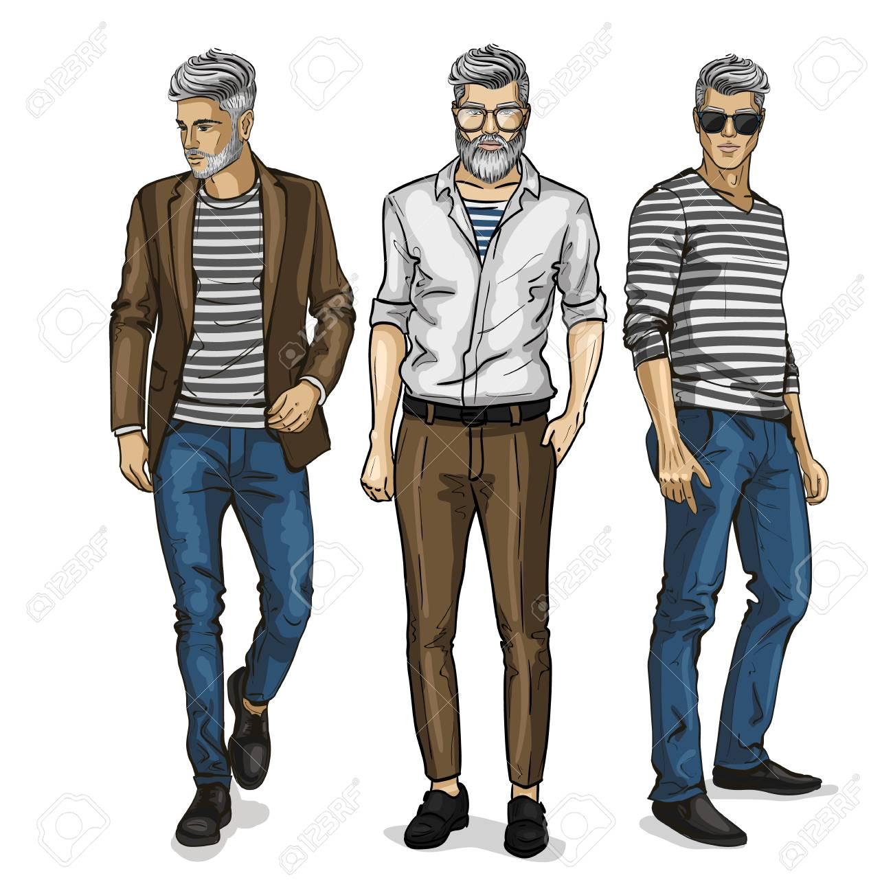 Mannequins Homme Vêtus De Style Décontracté Croquis Mode De La