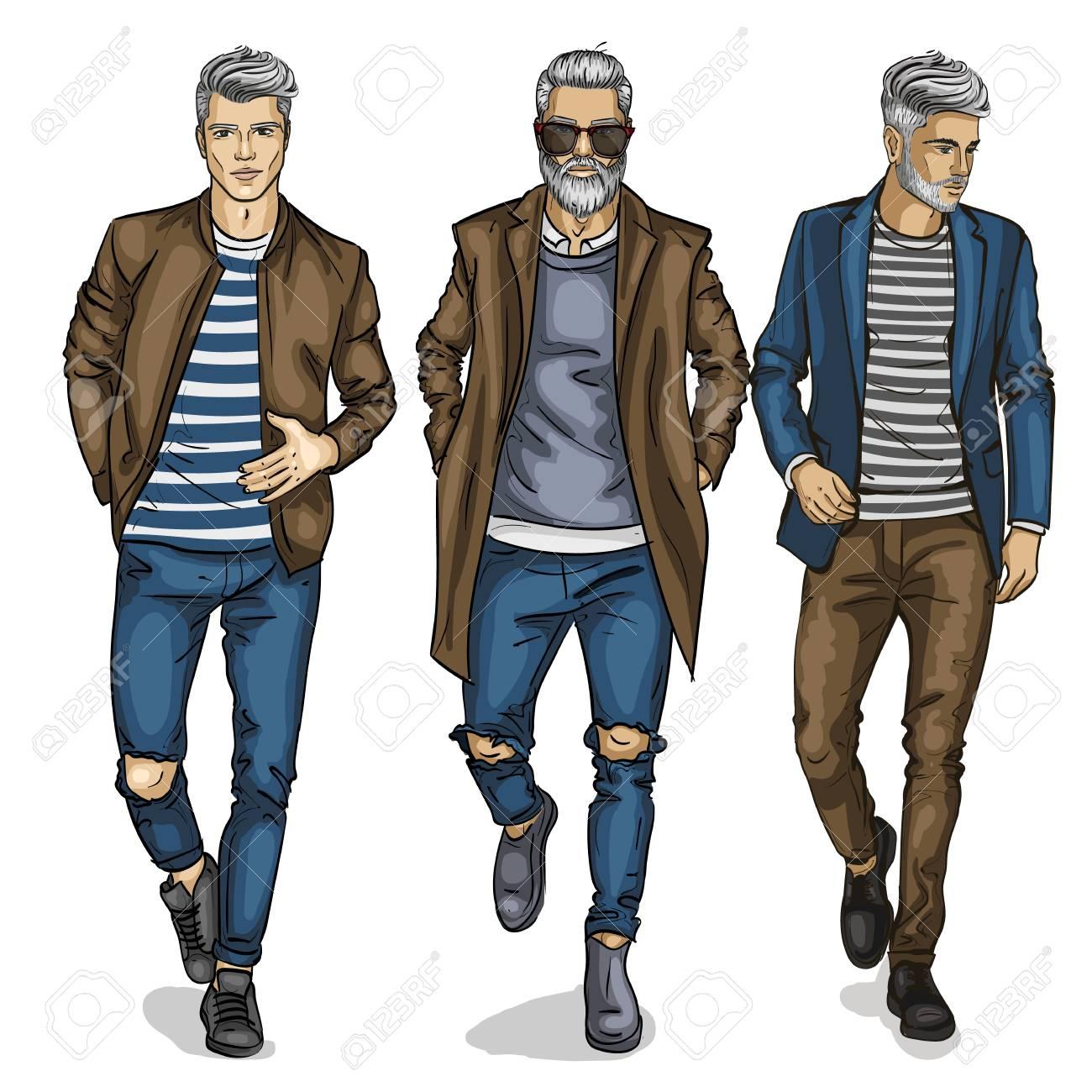 04e5531fd Vector hombre modelos maniquí diseñador ropa de moda