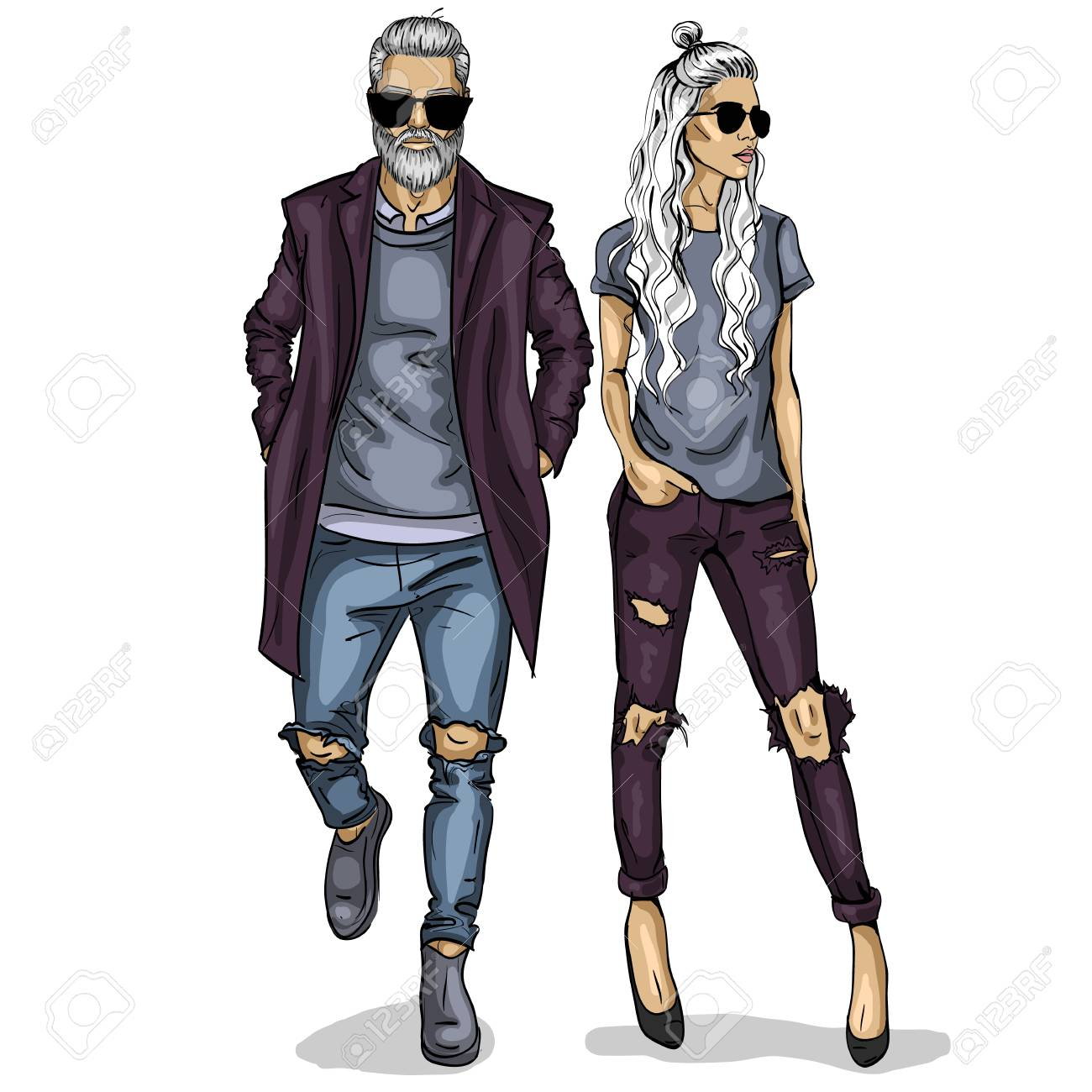 Vector woman and man fashion models, autumn collage look - 93338405