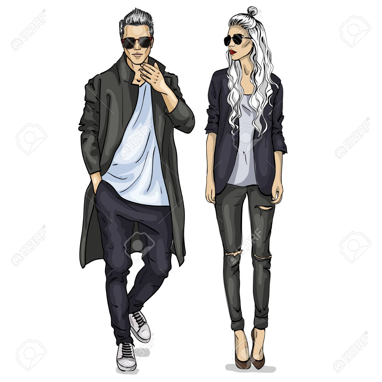 Vector woman and man fashion models with sunglasses, autumn outfit - 94259251