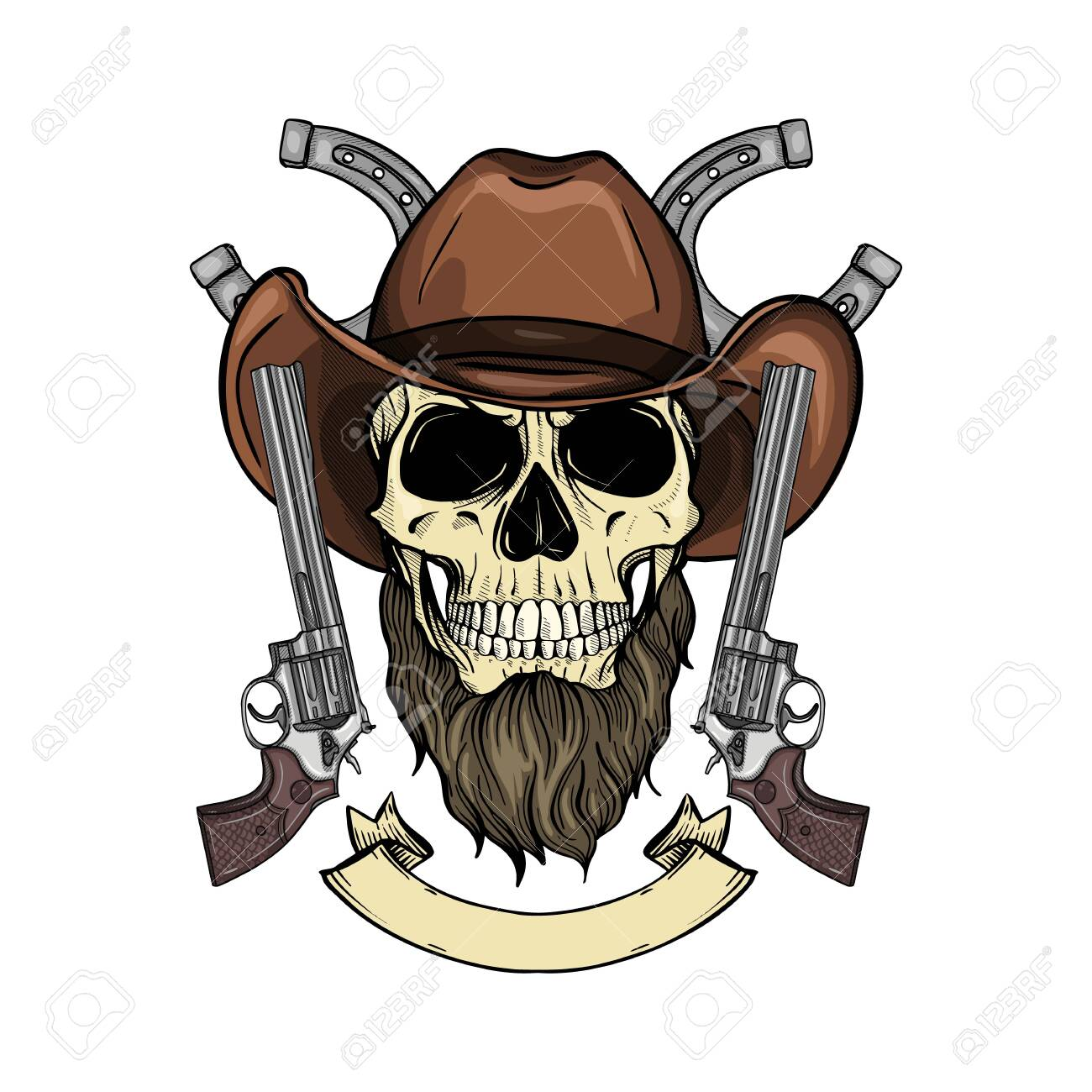Hand drawn sketch, color skull with cowboy hat, revolver and beard - 121685276