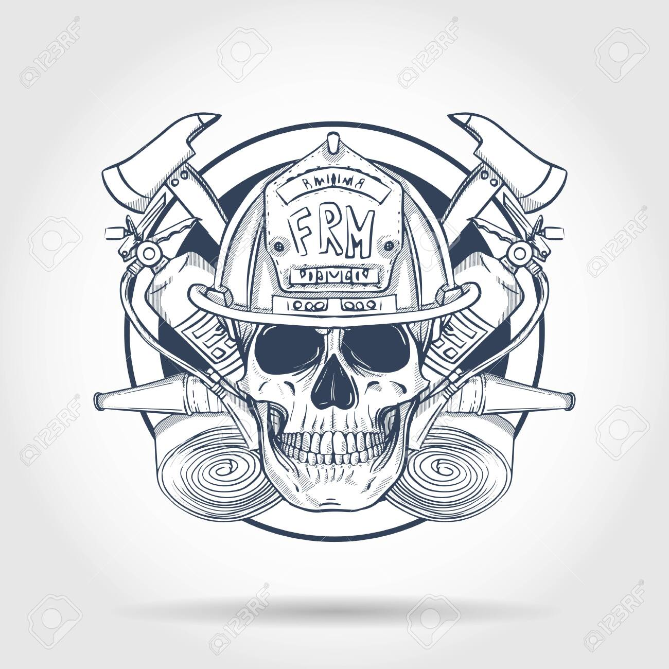 Hand drawn sketch, fireman skull with helmet, fire extinguisher, axe and firehose. Poster, flyer design - 126079570