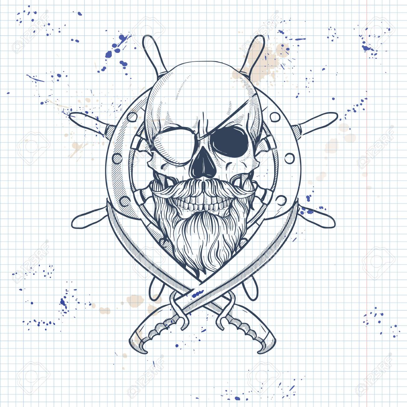 Sketch Pirate Skull With Sword Beard And Mustaches Eye Patch Royalty Free Cliparts Vectors And Stock Illustration Image 130039556