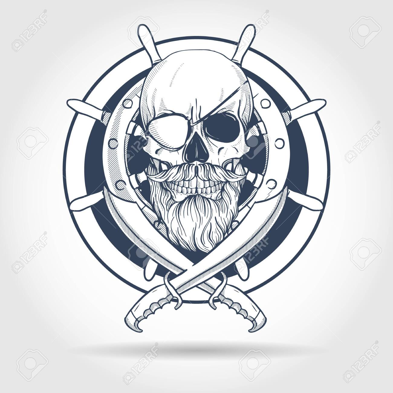 Hand Drawn Sketch Pirate Skull With Sword Beard And Mustaches Royalty Free Cliparts Vectors And Stock Illustration Image 130039558