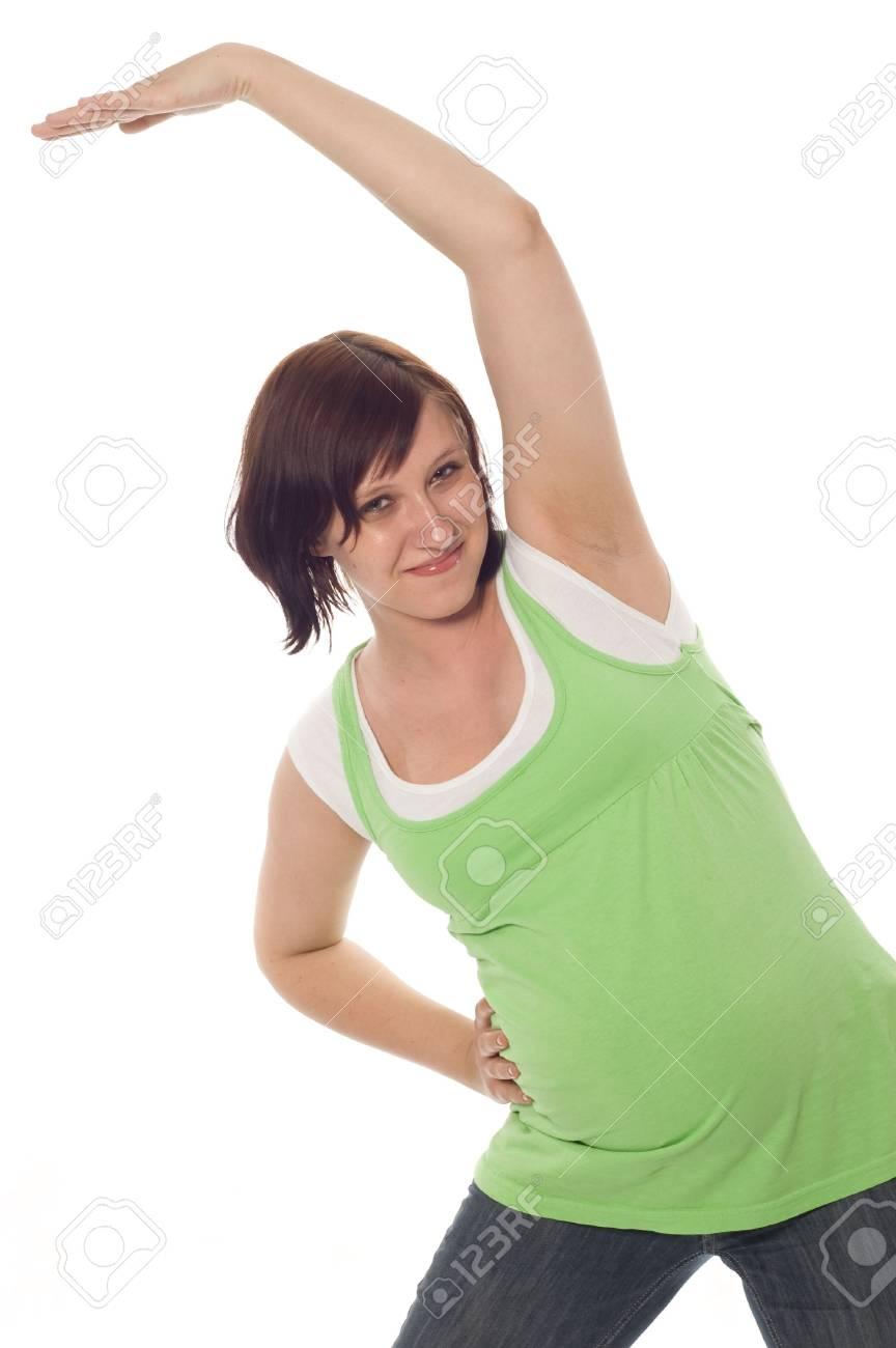 active pregnant woman on white background Stock Photo - 3120214