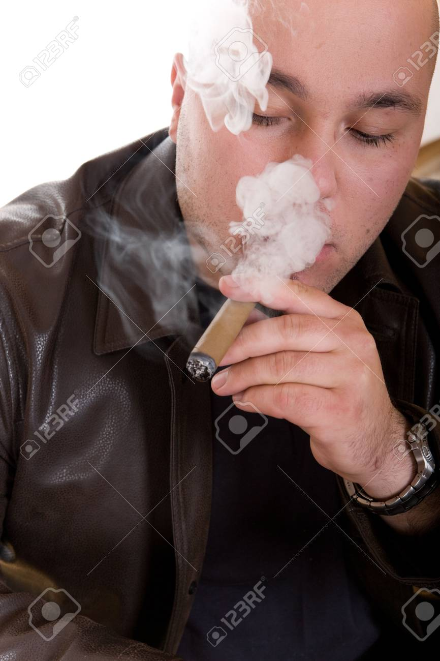 man with cigar isolated on white background Stock Photo - 3758722