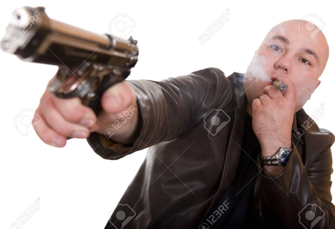 elegant gangster isolated on white background Stock Photo - 3758638