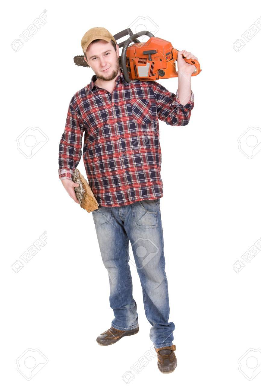 happy woodcutter with saw. over white background Stock Photo - 4833542