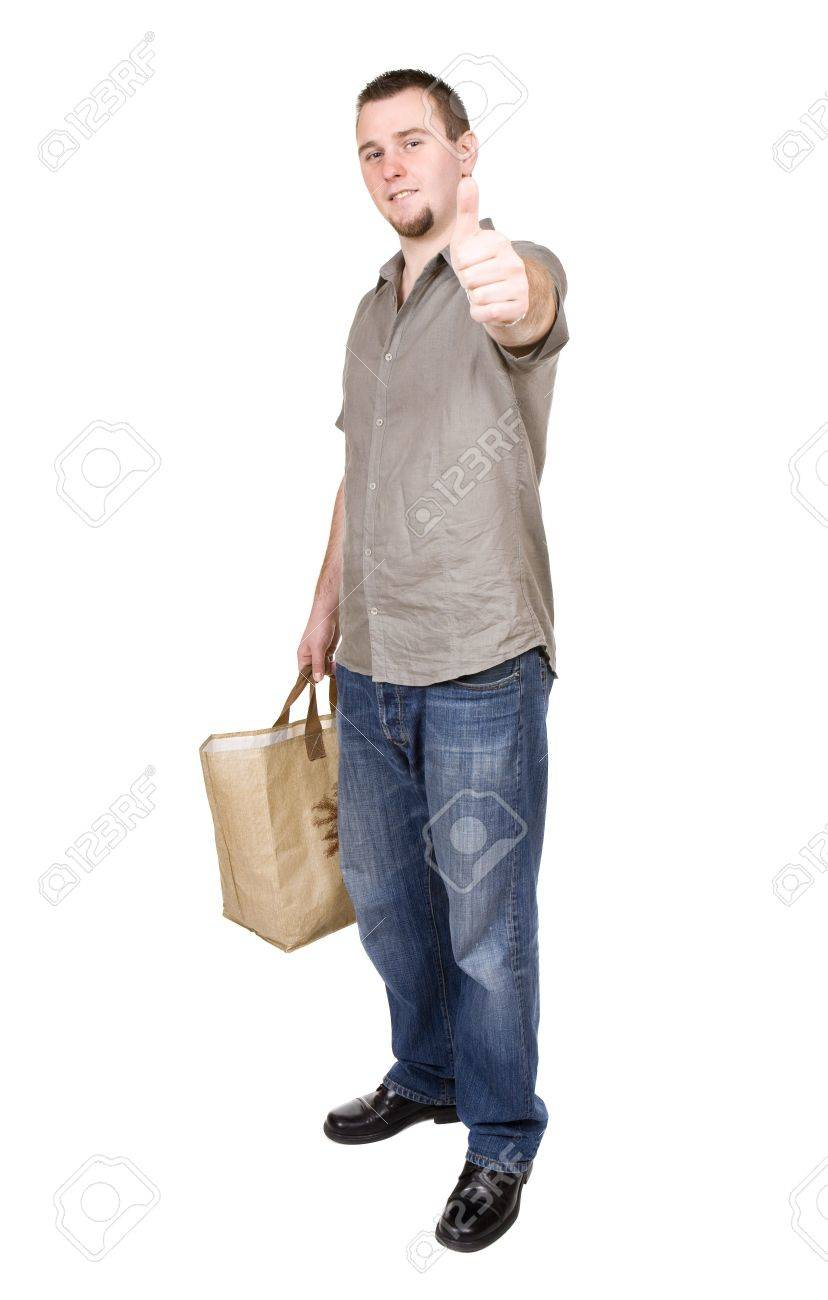 Young Casual Man With Shopping Bag. Over White Background Stock ...