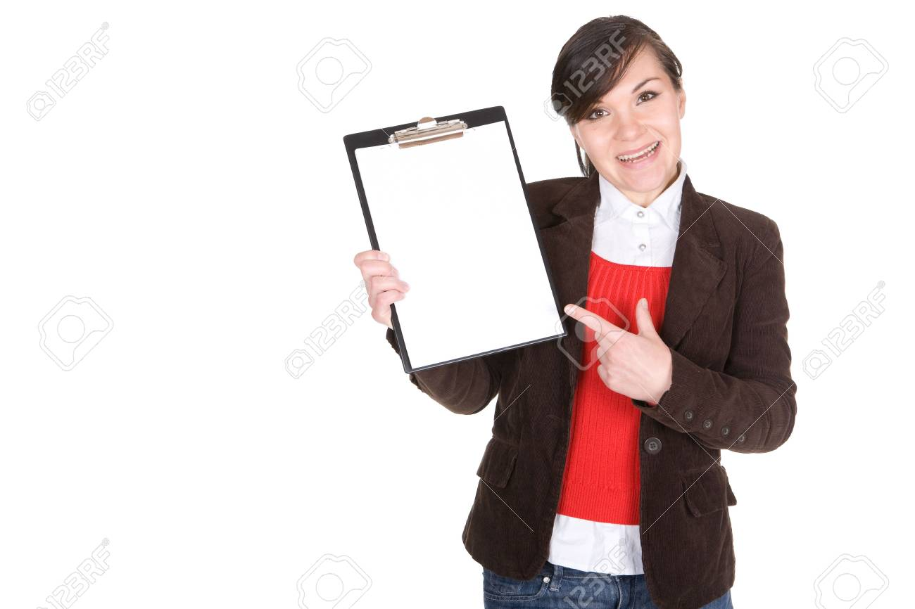 young casual woman with banner. over white background Stock Photo - 6438492