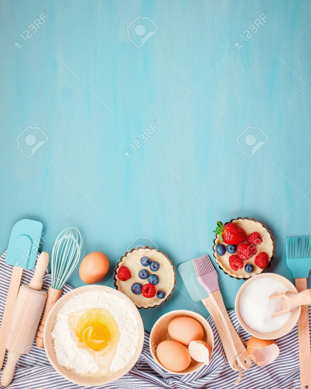 Baking Utensils And Cooking Ingredients For Tarts, Cookies, Dough ...