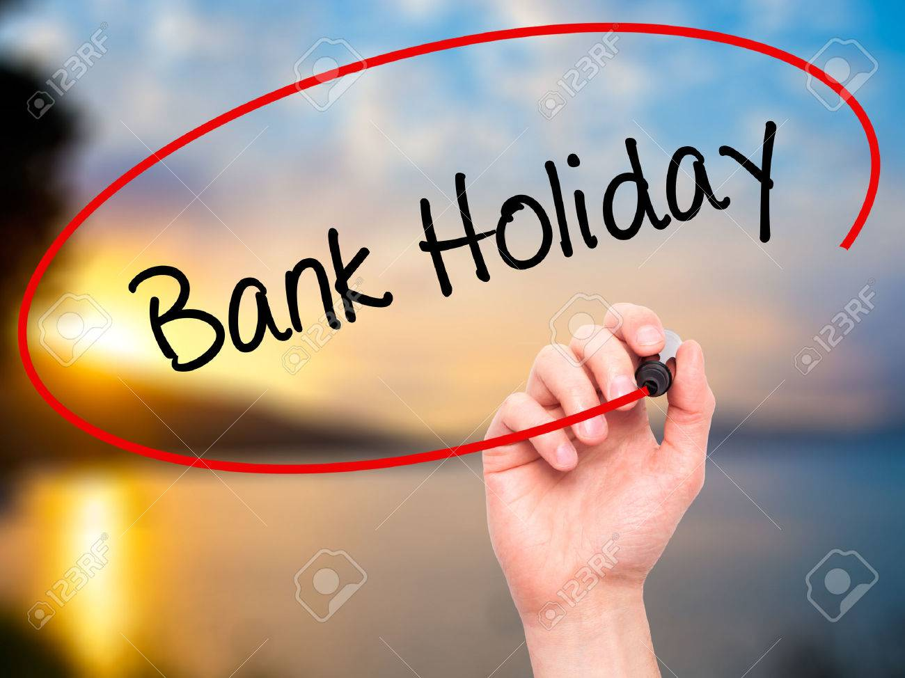 Man Hand writing Bank Holiday with black marker on visual screen. Isolated on background. Business, technology, internet concept. Stock Photo - 52304656