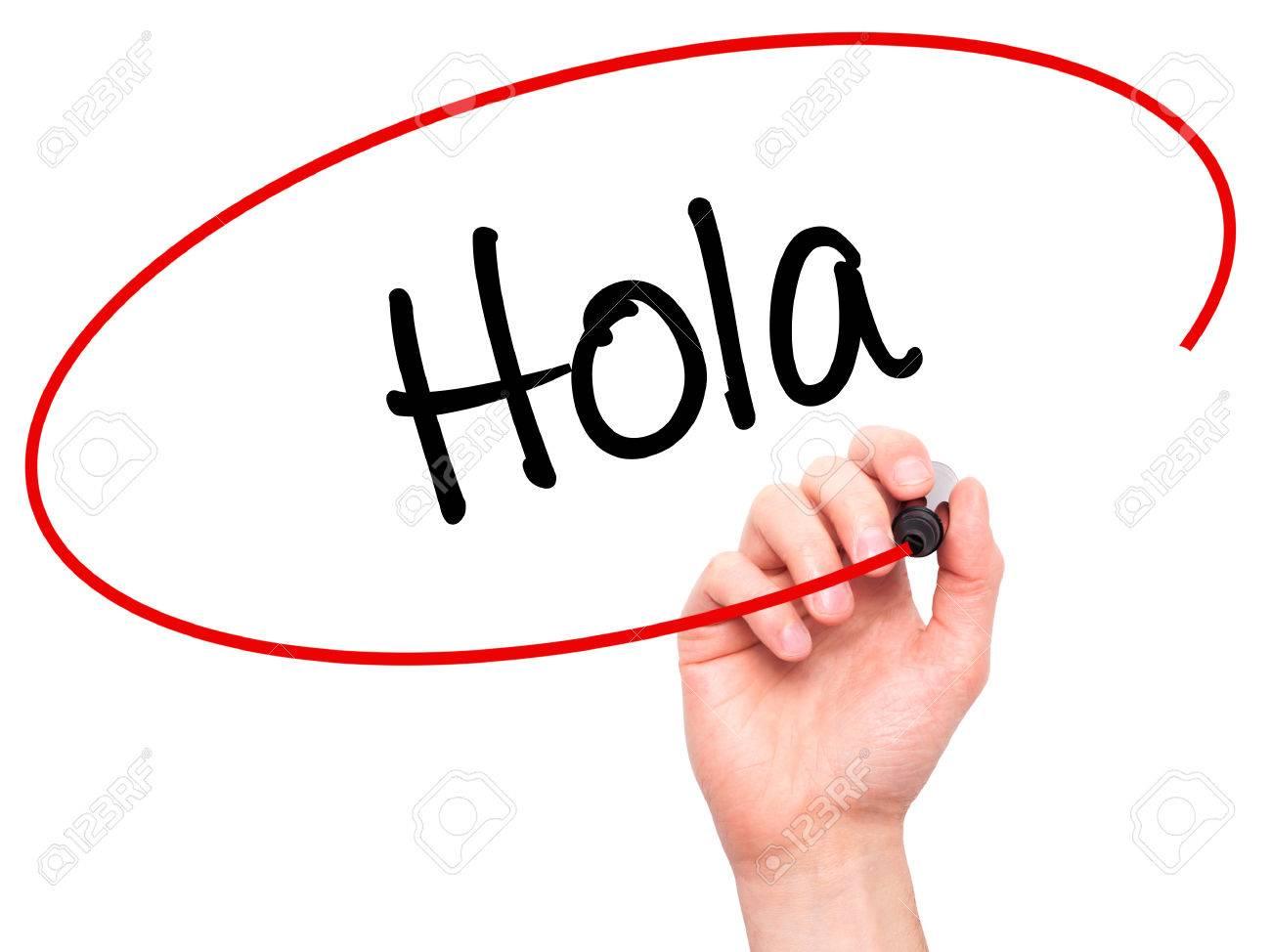 Man Main écriture Hola (Bonjour En Espagnol) Avec Un Marqueur Noir Sur  L'écran Visuel. Isolé Sur Fond. Affaires, Technologie, Internet Concept.  Photo Banque D'Images Et Photos Libres De Droits. Image 52287878.