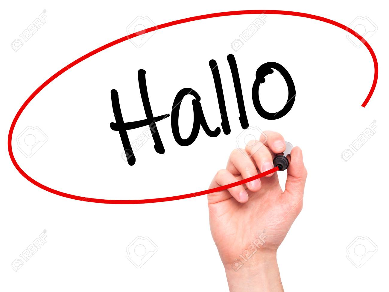 man hand writing hallo hello in german with black marker on