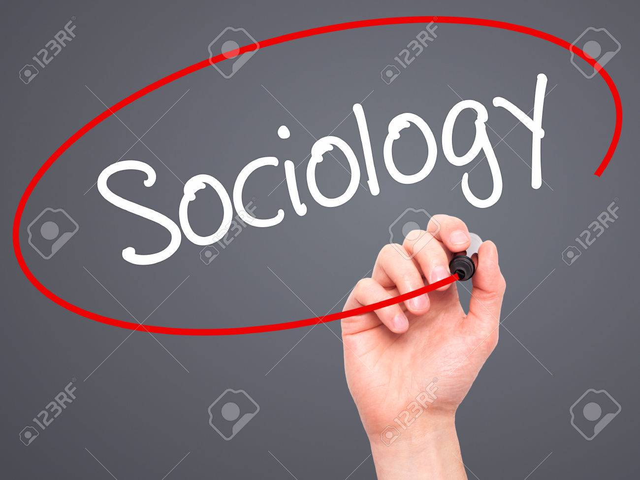 man hand writing sociology black marker on visual screen man hand writing sociology black marker on visual screen isolated on background business