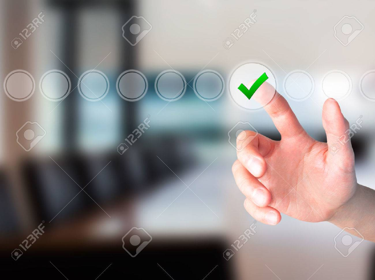 Young male hand touching, pressing modern button and ticking check box out of empty boxes on digital screen interface. Isolated on grey. Business technology concept. Stock Image - 54747169