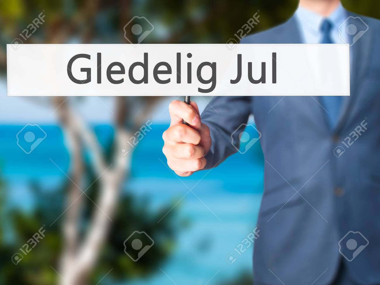 68ee6e9d Gledelig Jul (Happy Christmas in Norwegian) - Businessman hand holding  sign. Business,