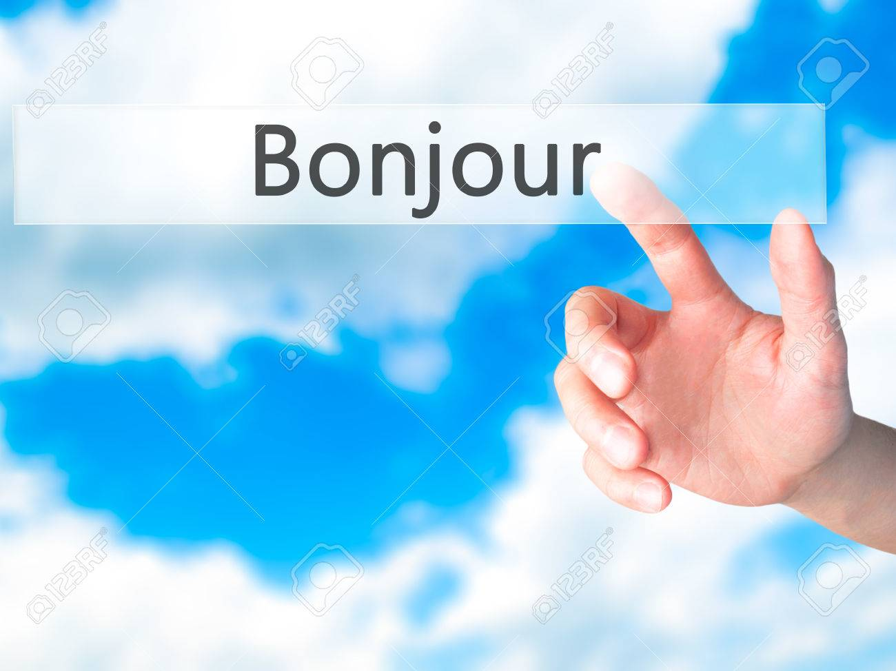 Bonjour Good Morning In French Hand Pressing A Button On Stock