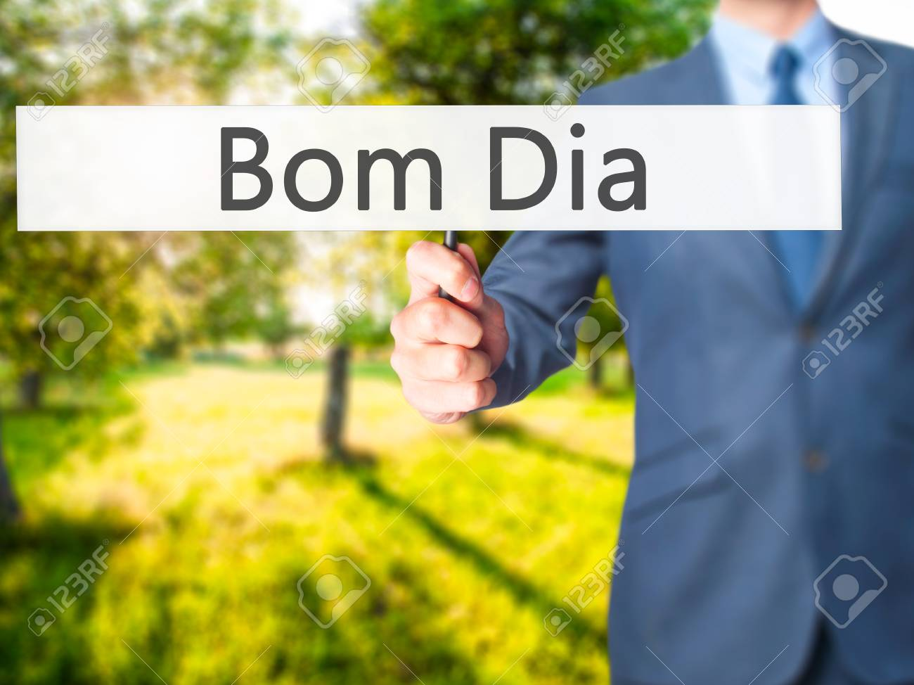 Bom Dia In Portuguese Good Morning Businessman Hand Holding