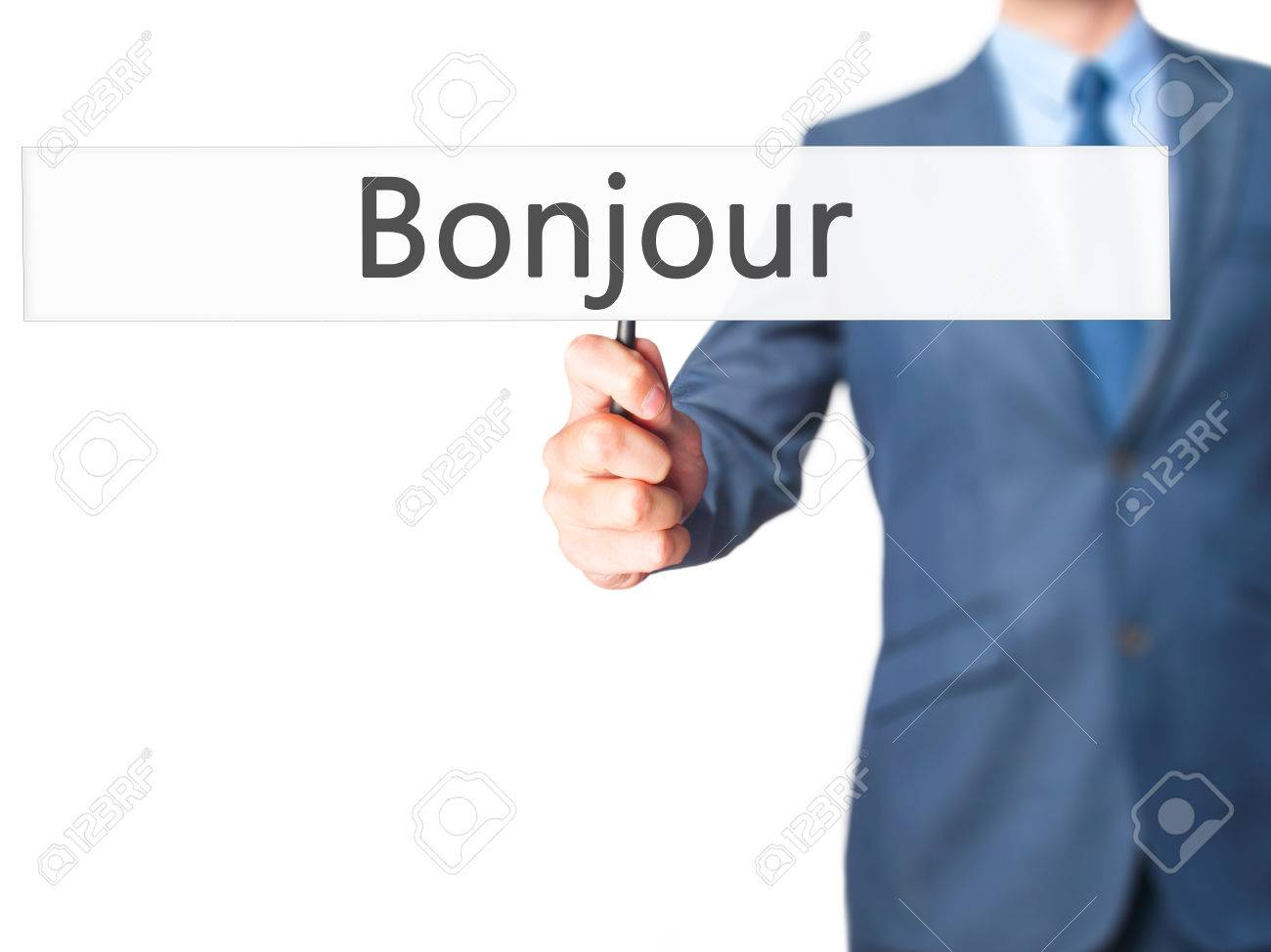 Bonjour Good Morning In French Businessman Hand Holding Sign