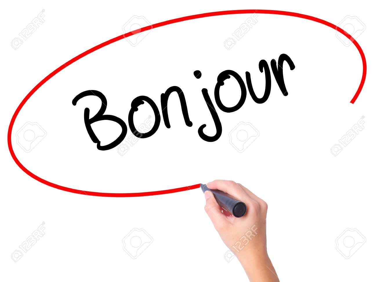 Women Hand Writing Bonjour Good Morning In French With Black