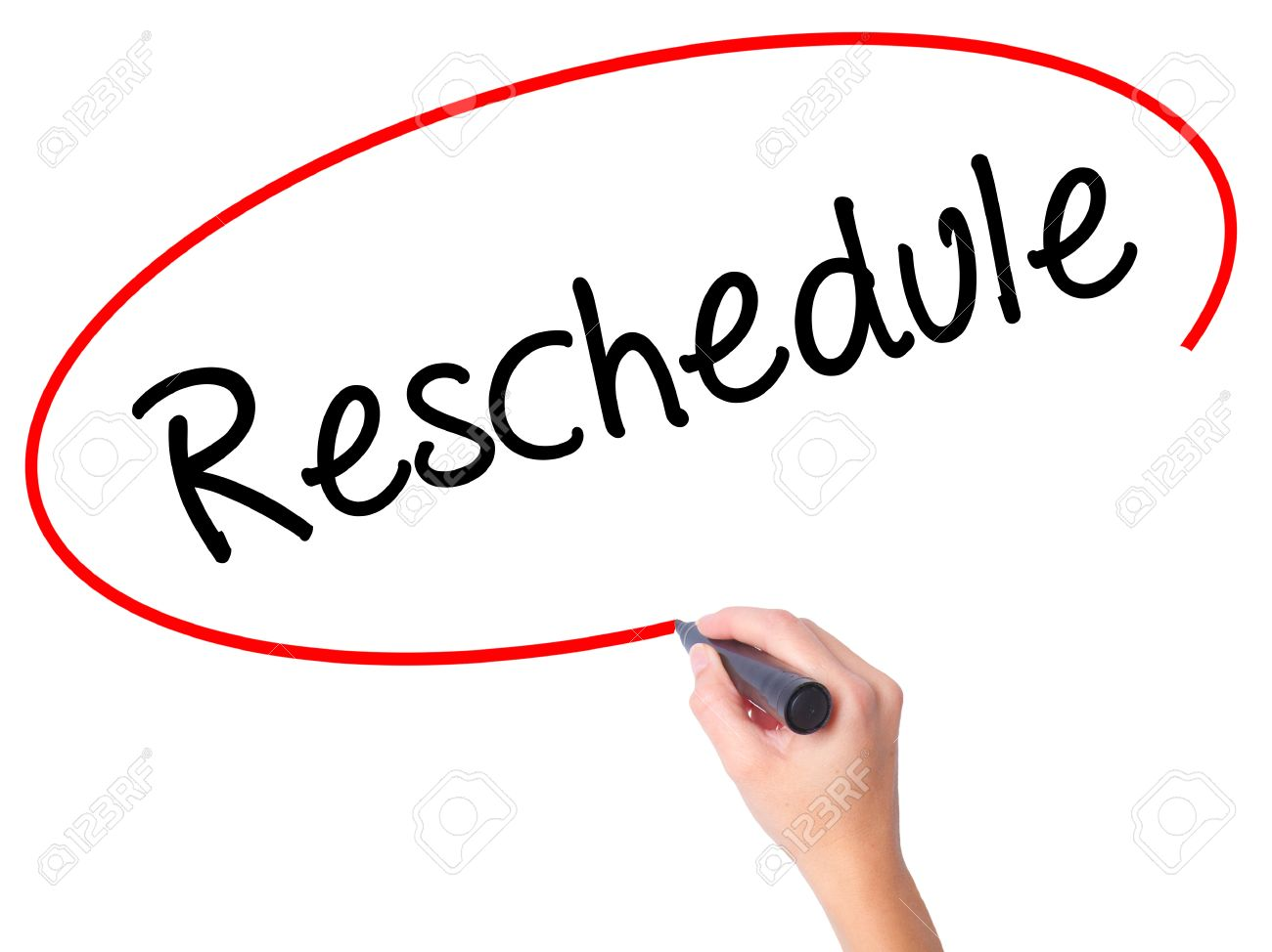 women hand writing reschedule with black marker on visual screen