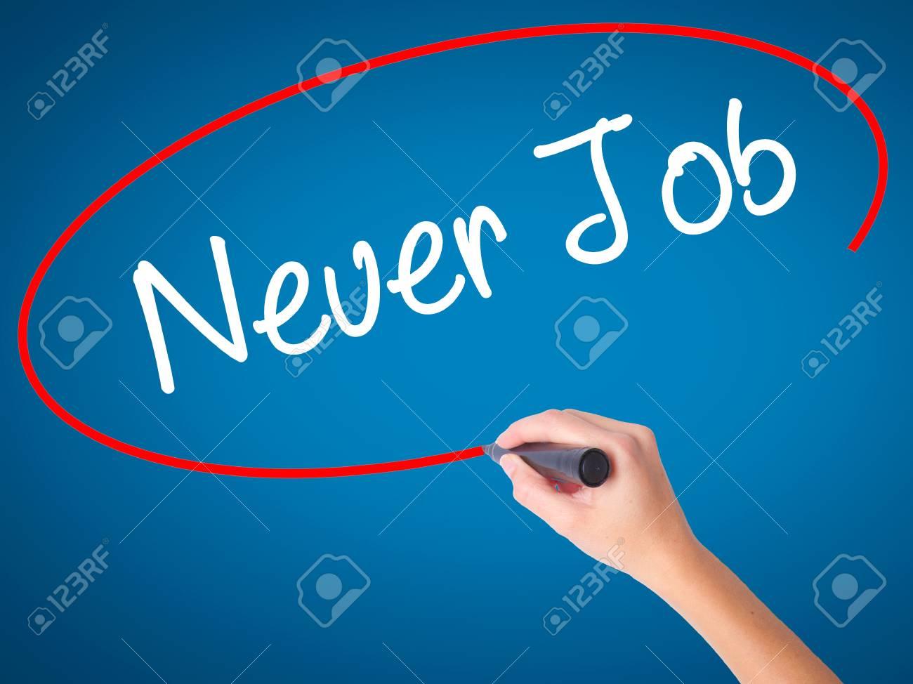 Women Hand Writing Neuer Job New Job In German With Black Stock