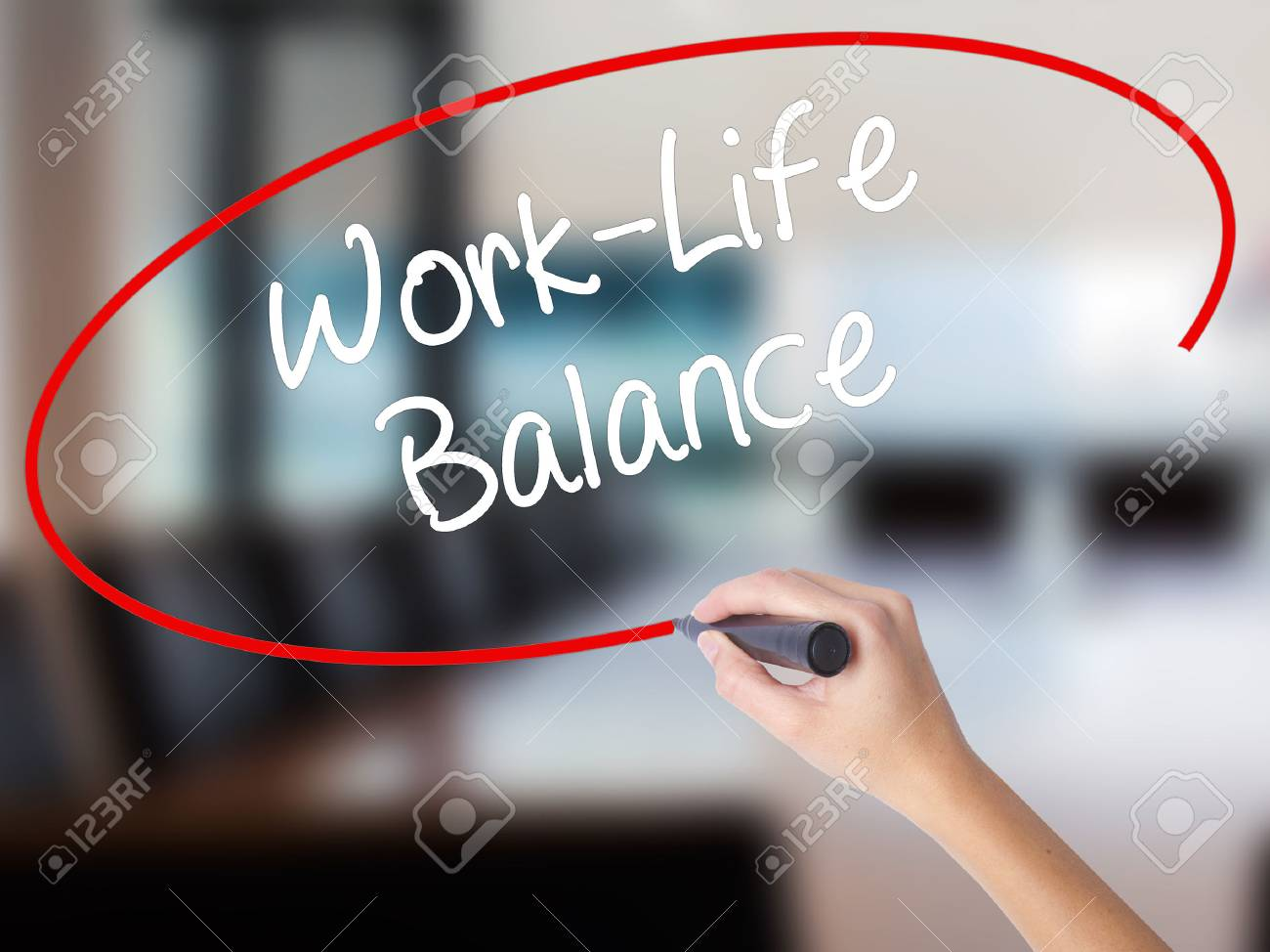 Woman Hand Writing Work-Life Balance with a marker over transparent