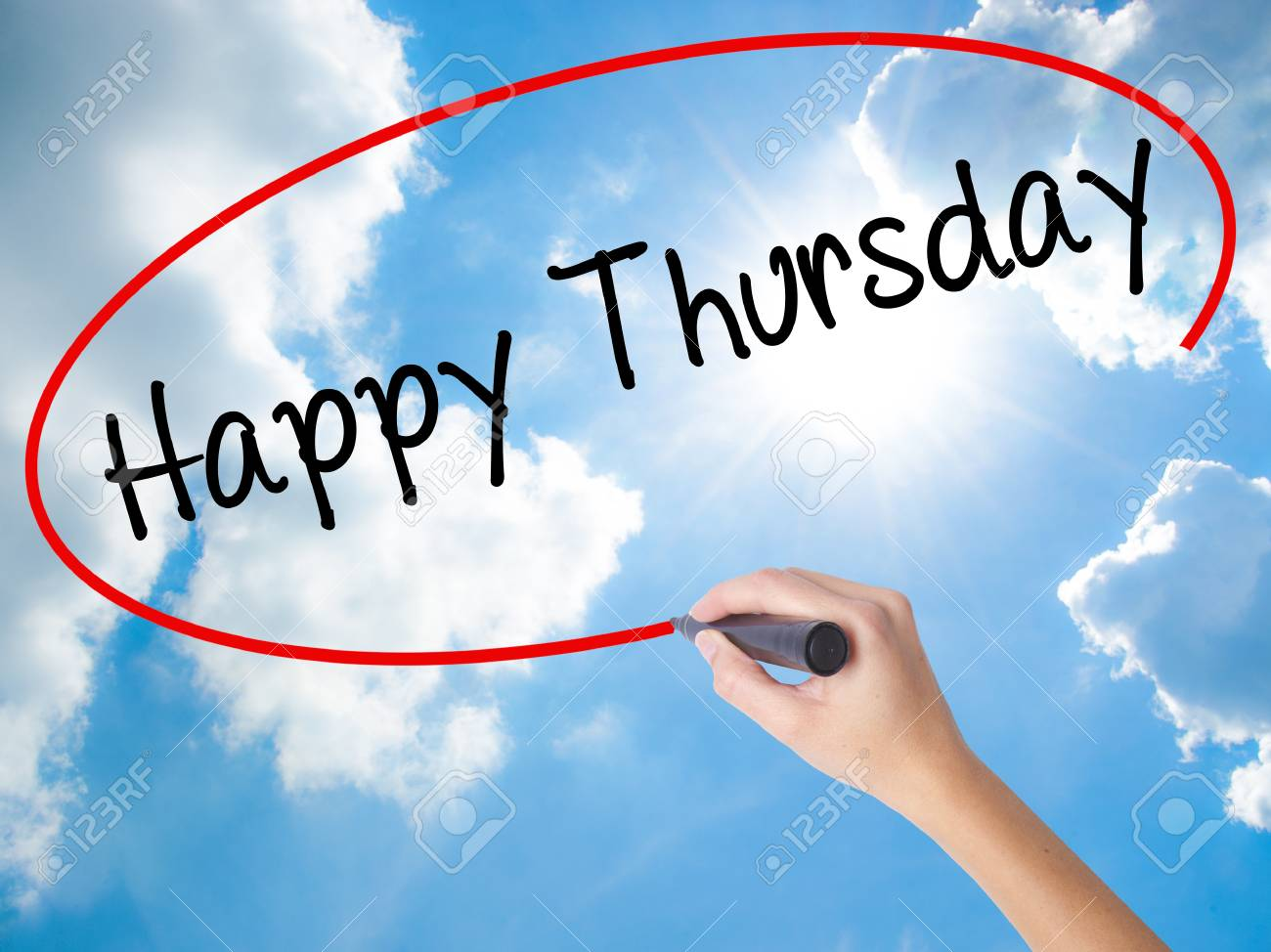 Woman Hand Writing Happy Thursday With Black Marker On Visual ...