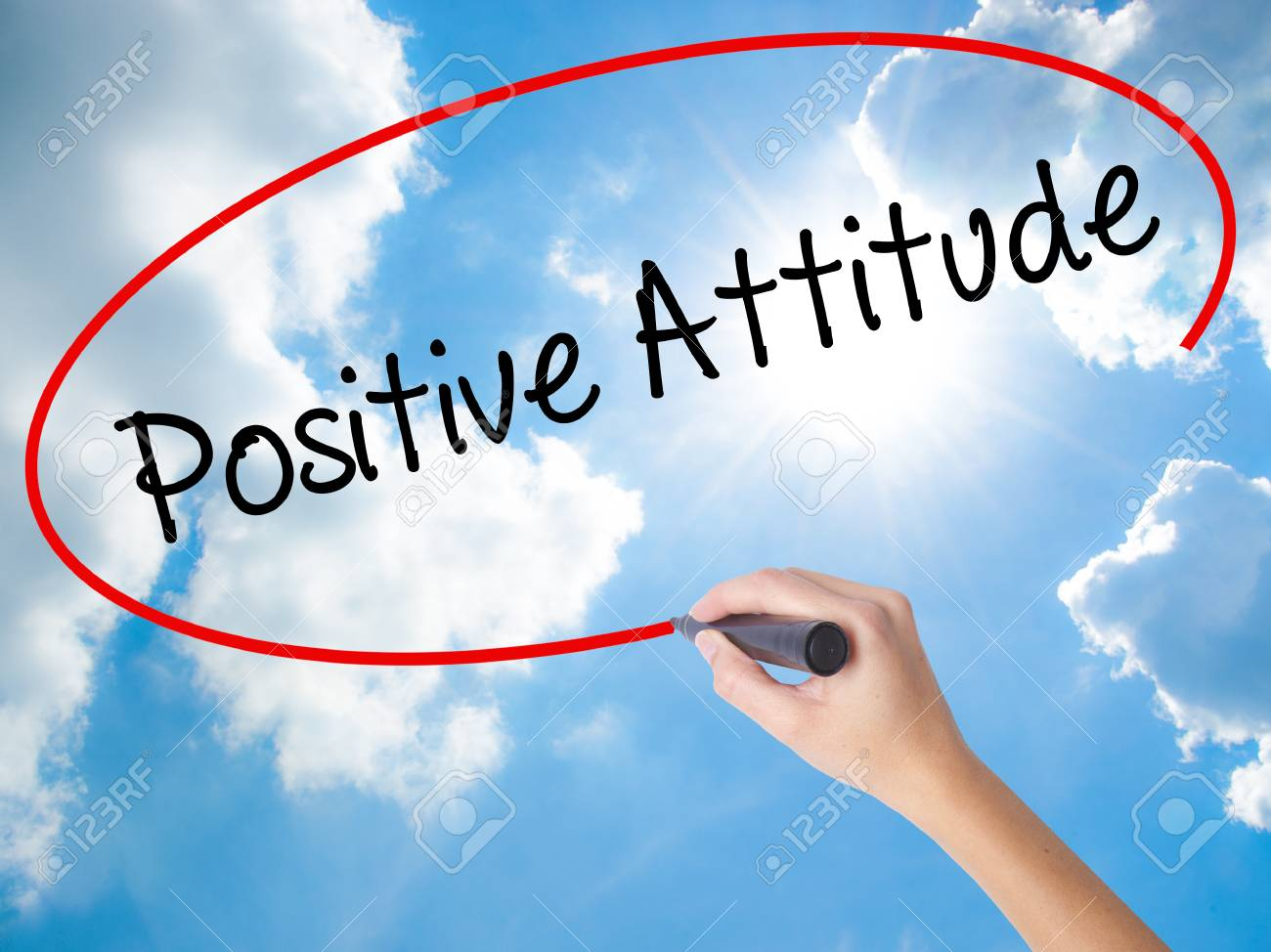Woman Hand Writing Positive Attitude With Black Marker On Visual Screen.  Isolated On Sunny Sky. Business Concept. Stock Photo Stock Photo, Picture  And Royalty Free Image. Image 72218637.