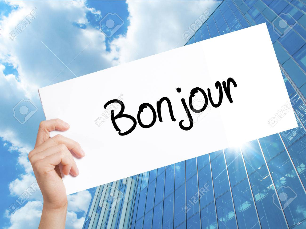 Bonjour Good Morning In French Sign On White Paper Man Hand